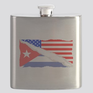 Cuban American Flag Flask