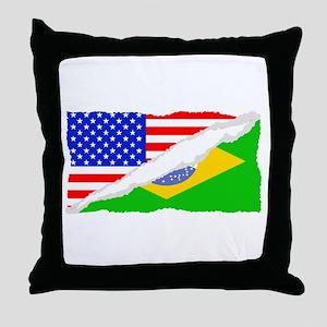 Brazilian American Flag Throw Pillow
