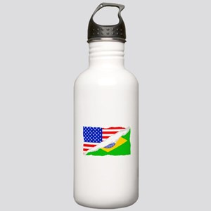 Brazilian American Flag Water Bottle