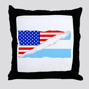 Argentinian American Flag Throw Pillow