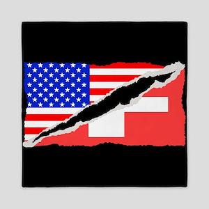 Swiss American Flag Queen Duvet