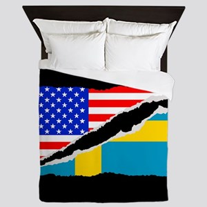 Swedish American Flag Queen Duvet
