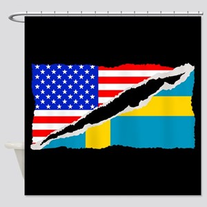 Swedish American Flag Shower Curtain