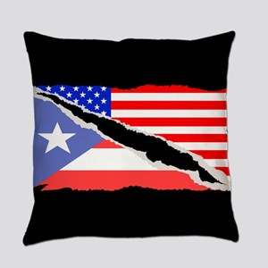Puerto Rican American Flag Everyday Pillow
