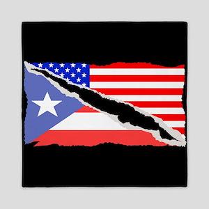 Puerto Rican American Flag Queen Duvet