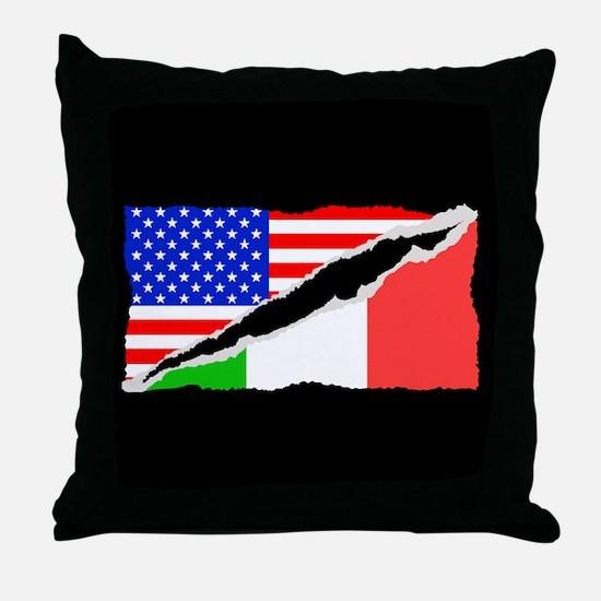 Italian American Flag Throw Pillow