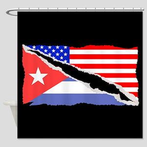 Cuban American Flag Shower Curtain