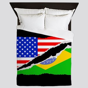 Brazilian American Flag Queen Duvet