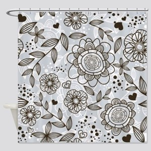 Gray Floral Shower Curtain