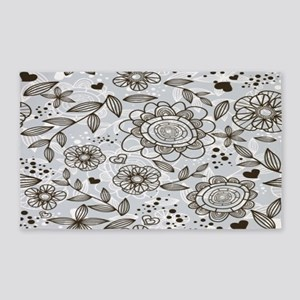 Gray Floral 3'x5' Area Rug