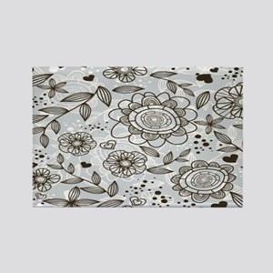 Gray Floral Rectangle Magnet