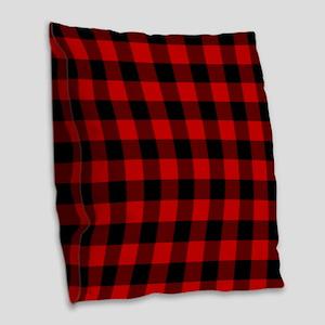 Red Plaid Burlap Throw Pillow