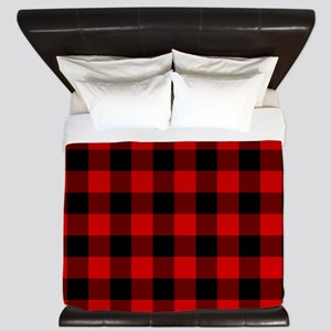 Red Plaid King Duvet