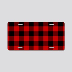 Red Plaid Aluminum License Plate