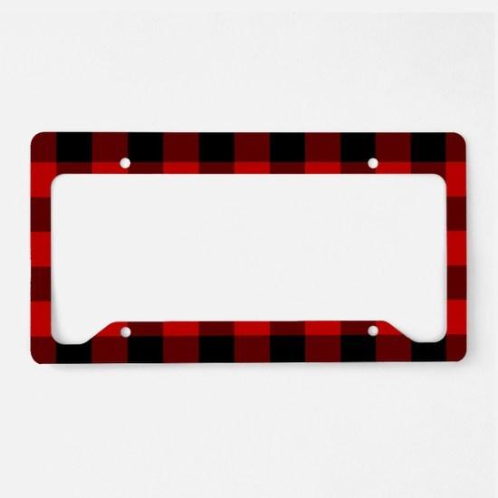 Red Plaid License Plate Holder