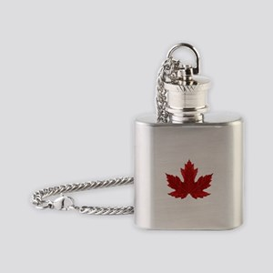 Red Maple Leaf Flask Necklace