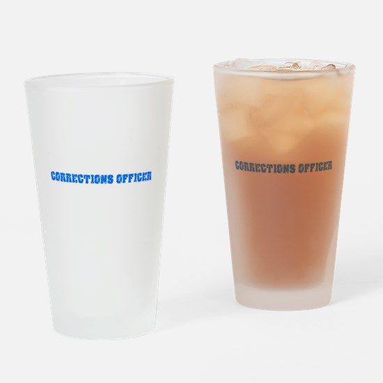 Corrections Officer Blue Bold Desig Drinking Glass