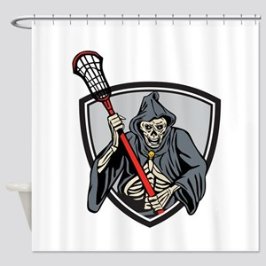 Grim Reaper Lacrosse Player Crosse Stick Retro Sho