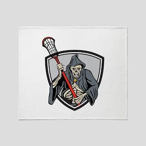 Grim Reaper Lacrosse Player Crosse Stick Retro Thr