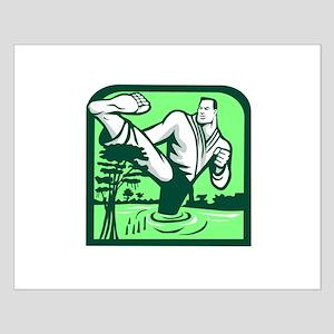 Martial Arts Fighter Kicking Cypress Tree Retro Po