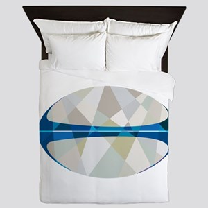Rugby Ball Isolated Low Polygon Queen Duvet
