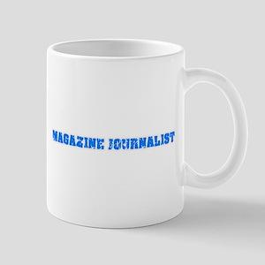 Magazine Journalist Blue Bold Design Mugs