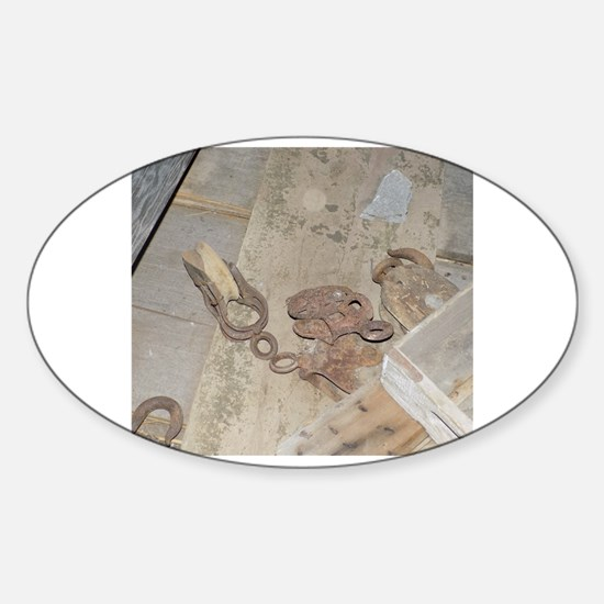 Unique Abandoned barn Sticker (Oval)