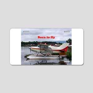 Born to fly: Float plane 12 Aluminum License Plate