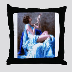 Burlesque Girl with Pearls Throw Pillow