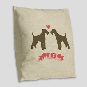 Airedales Love Burlap Throw Pillow