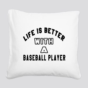 Baseball Player Designs Square Canvas Pillow