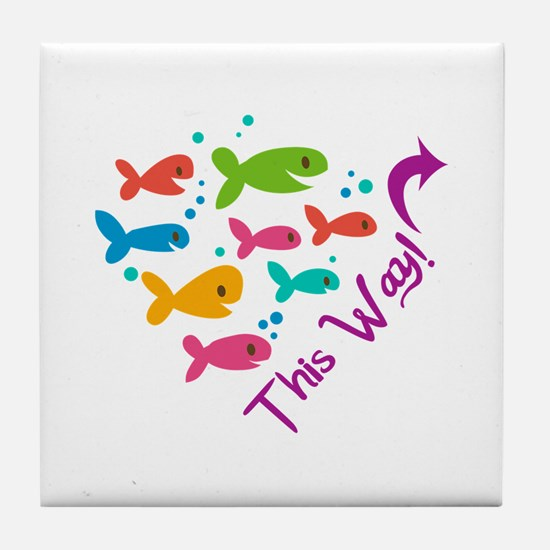 Fish This Way Tile Coaster