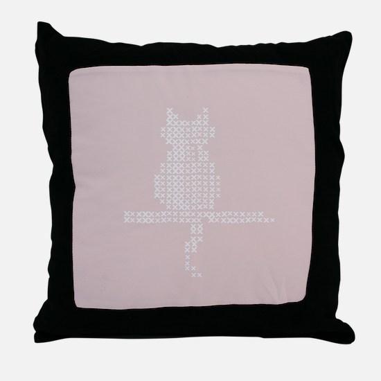 Pastel Pink Cat Stitch Fix Throw Pillow