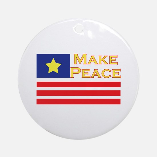 Make Peace Round Ornament