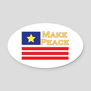 Make Peace Oval Car Magnet