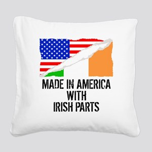 Made In America With Irish Parts Square Canvas Pil