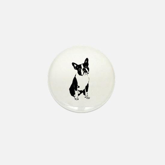 boston terrier black and white 2 Mini Button