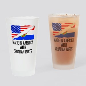 Made In America With Croatian Parts Drinking Glass