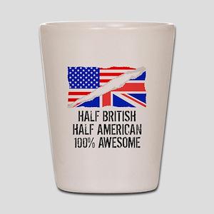 Half British Half American Awesome Shot Glass