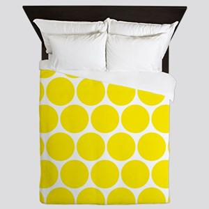 Retro Yellow Polka Dots Pattern Queen Duvet