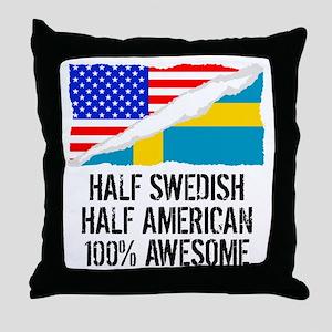 Half Swedish Half American Awesome Throw Pillow