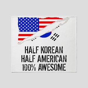 Half Korean Half American Awesome Throw Blanket