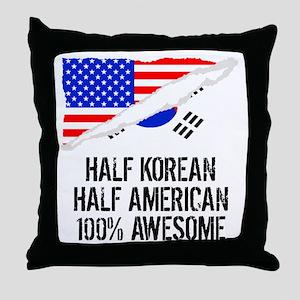 Half Korean Half American Awesome Throw Pillow