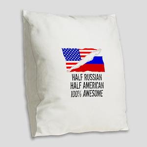 Half Russian Half American Awesome Burlap Throw Pi