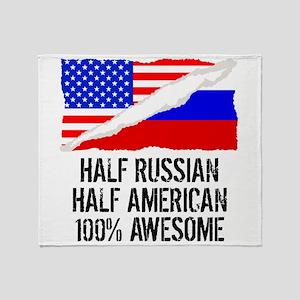 Half Russian Half American Awesome Throw Blanket