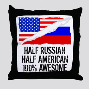 Half Russian Half American Awesome Throw Pillow
