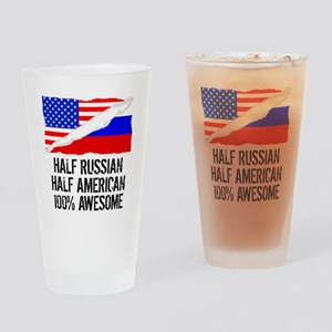 Half Russian Half American Awesome Drinking Glass