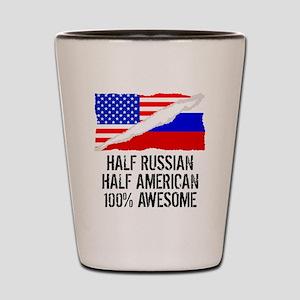 Half Russian Half American Awesome Shot Glass