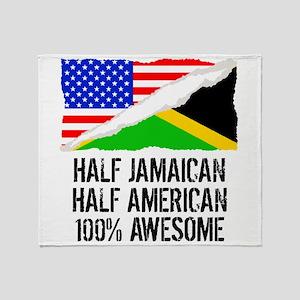 Half Jamaican Half American Awesome Throw Blanket