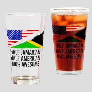 Half Jamaican Half American Awesome Drinking Glass